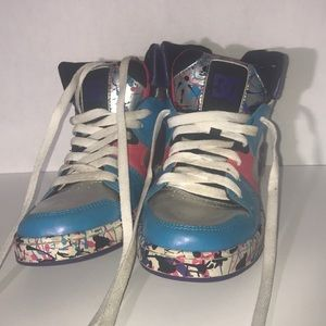 DC Hightop Splatter Skate Shoes